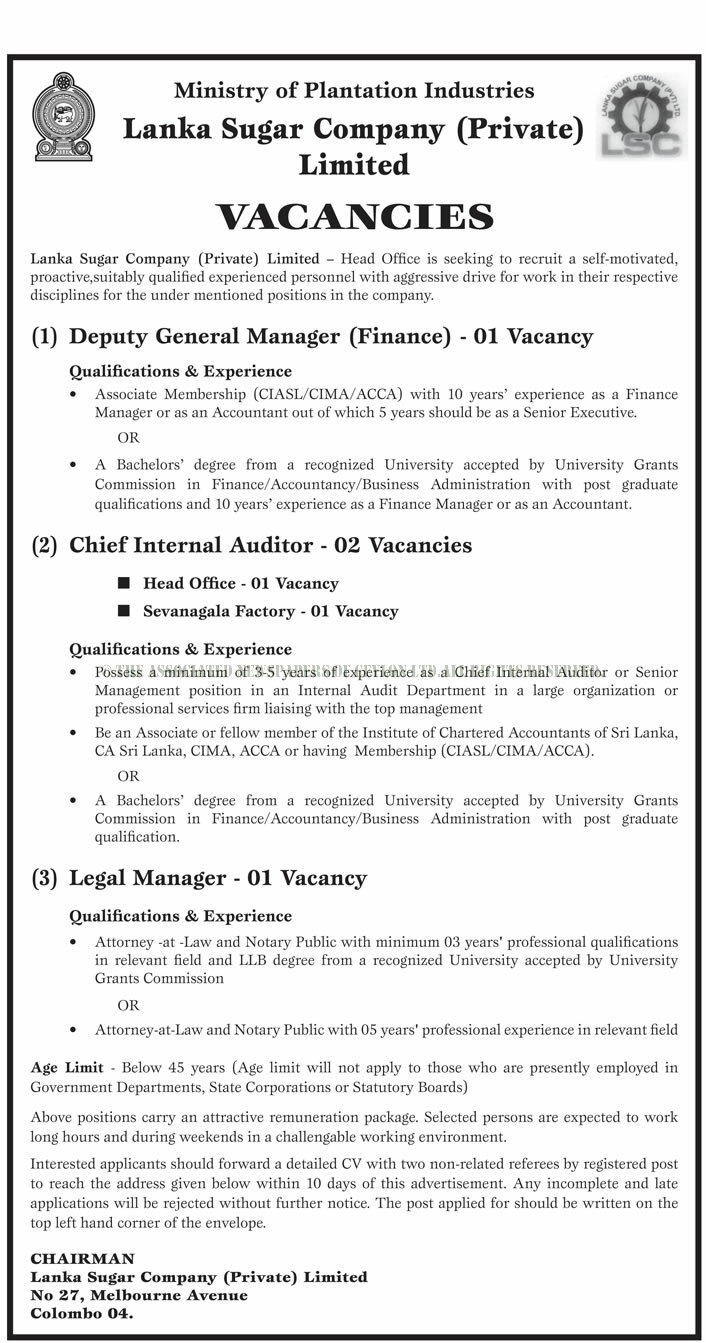 Deputy General Manager, Chief Internal Auditor, Legal Manager - Lanka Sugar Company (Private) Limited
